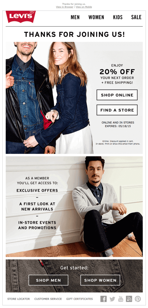 Welcome email campaign from Levi's